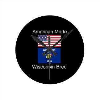 """American Born..Wisconsin Bred"" Flag Design Round Clock"
