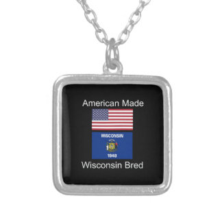 """American Born..Wisconsin Bred"" Flag Design Silver Plated Necklace"