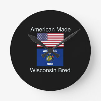 """American Born..Wisconsin Bred"" Flag Design Wall Clock"