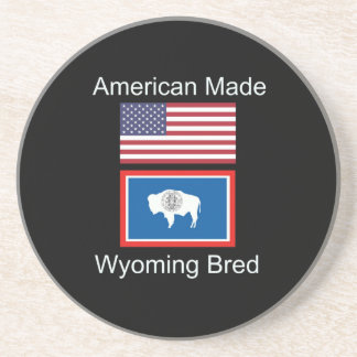 """American Born..Wyoming Bred"" Flags and Patriotism Coaster"