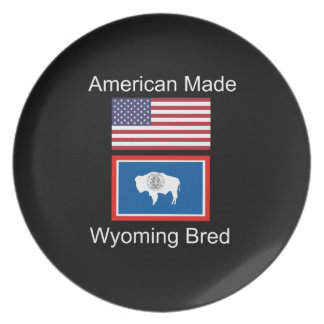 """American Born..Wyoming Bred"" Flags and Patriotism Party Plates"