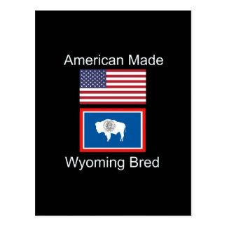 """American Born..Wyoming Bred"" Flags and Patriotism Postcard"