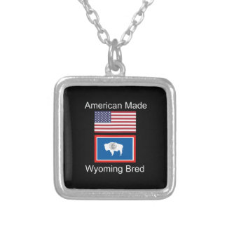 """""""American Born..Wyoming Bred"""" Flags and Patriotism Silver Plated Necklace"""