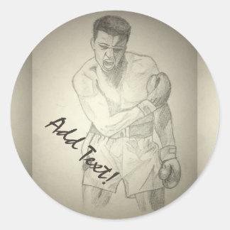 American Boxer Art Sketch Round Sticker