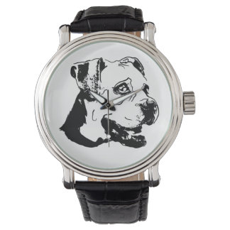 American Boxer Dog Vintage Leather Strap Watch