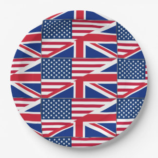 American British Flag Theme Party Paper Plates 9 Inch Paper Plate