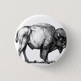 American Buffalo Bison 3 Cm Round Badge