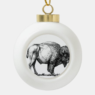 American Buffalo Bison Ceramic Ball Christmas Ornament