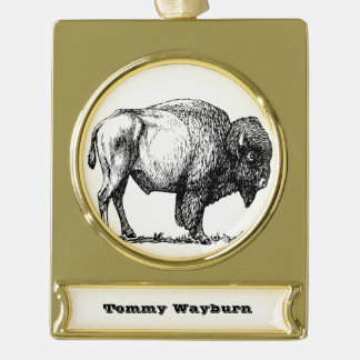 American Buffalo Bison Gold Plated Banner Ornament