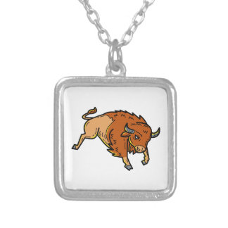 American Buffalo Jumping Mono Line Silver Plated Necklace