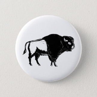 American Buffalo Side Woodcut Black and White 6 Cm Round Badge
