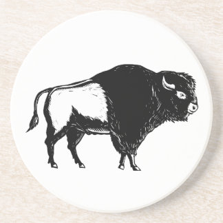 American Buffalo Side Woodcut Black and White Coaster
