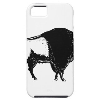 American Buffalo Side Woodcut Black and White iPhone 5 Case