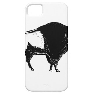 American Buffalo Side Woodcut Black and White iPhone 5 Cover