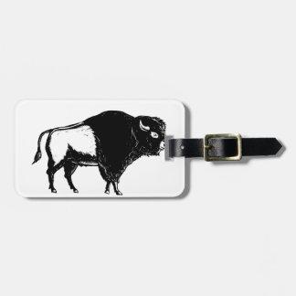 American Buffalo Side Woodcut Black and White Luggage Tag