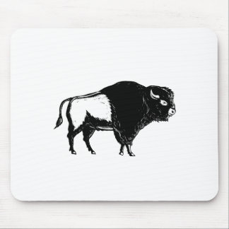American Buffalo Side Woodcut Black and White Mouse Pad