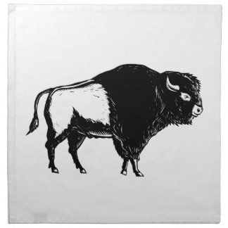 American Buffalo Side Woodcut Black and White Napkin