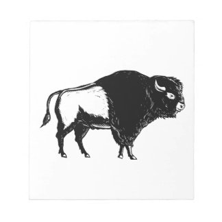 American Buffalo Side Woodcut Black and White Notepad