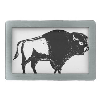 American Buffalo Side Woodcut Black and White Rectangular Belt Buckles