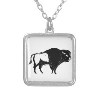 American Buffalo Side Woodcut Black and White Silver Plated Necklace