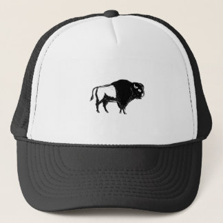 American Buffalo Side Woodcut Black and White Trucker Hat