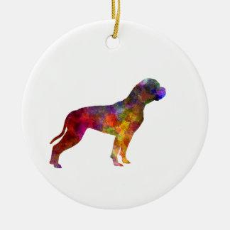 American Bulldog 01 in watercolor 2 Ceramic Ornament