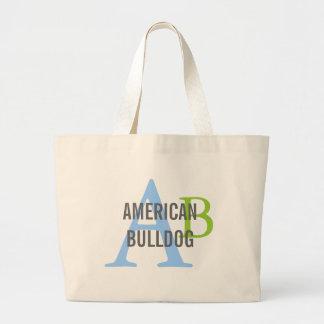 American Bulldog Breed Monogram Jumbo Tote Bag