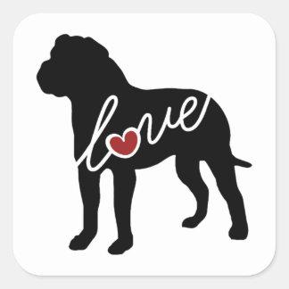 American Bulldog (Bully) Love Square Sticker