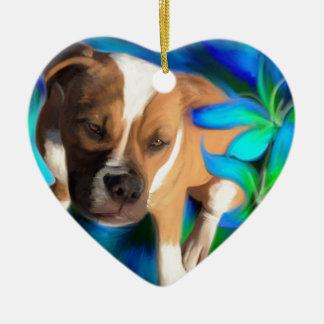 American Bulldog Ceramic Ornament