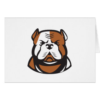 American Bulldog Head Front Retro Card