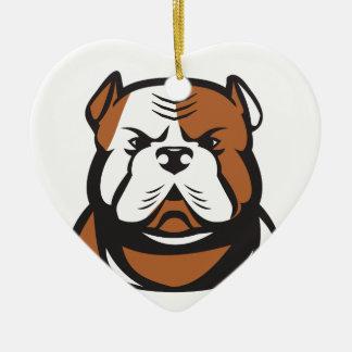 American Bulldog Head Front Retro Ceramic Ornament