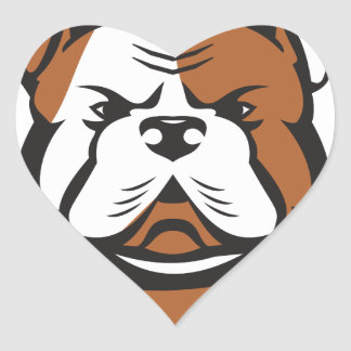 American Bulldog Head Front Retro Heart Sticker
