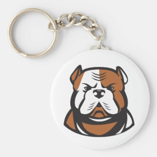 American Bulldog Head Front Retro Key Ring