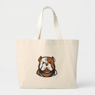 American Bulldog Head Front Retro Large Tote Bag