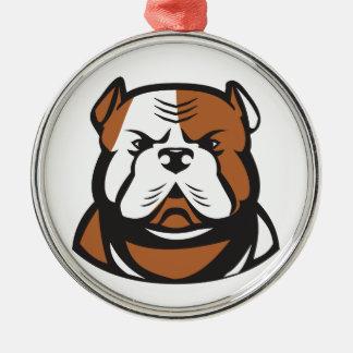American Bulldog Head Front Retro Metal Ornament