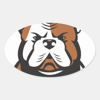 American Bulldog Head Front Retro Oval Sticker