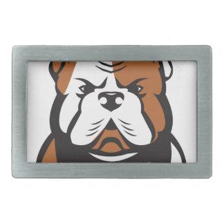 American Bulldog Head Front Retro Rectangular Belt Buckle