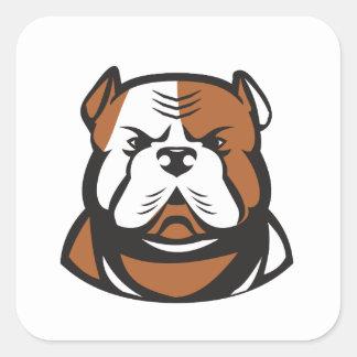 American Bulldog Head Front Retro Square Sticker
