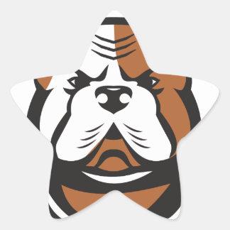 American Bulldog Head Front Retro Star Sticker