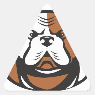 American Bulldog Head Front Retro Triangle Sticker