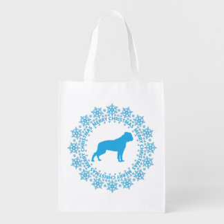 American Bulldog Merry Christmas Reusable Tote