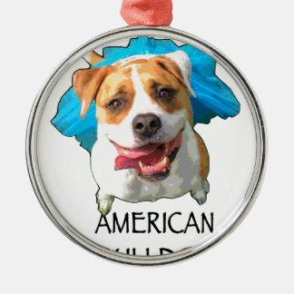 american bulldog metal ornament