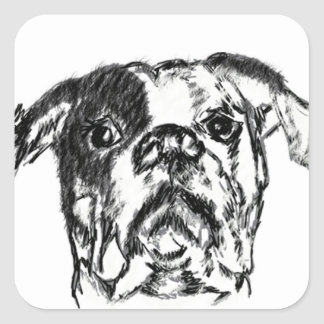 American Bulldog Sketch Square Sticker