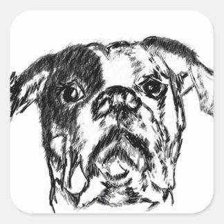 American Bulldog Sketch Square Sticker