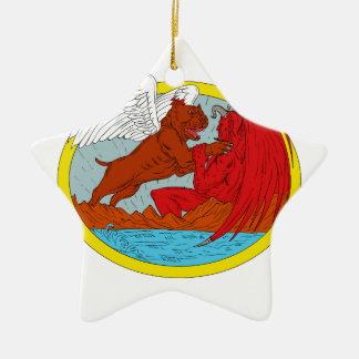 American Bully Dog Fighting Satan Drawing Ceramic Ornament