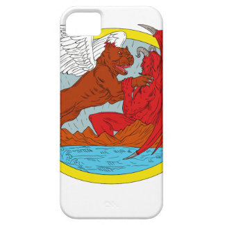 American Bully Dog Fighting Satan Drawing iPhone 5 Cover