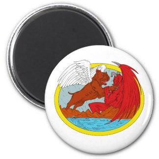 American Bully Dog Fighting Satan Drawing Magnet