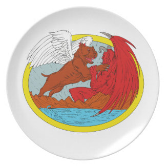 American Bully Dog Fighting Satan Drawing Plate