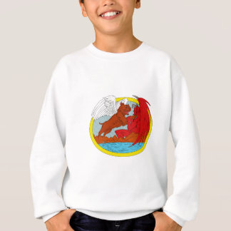 American Bully Dog Fighting Satan Drawing Sweatshirt