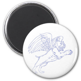 American Bully With Wings Drawing Magnet